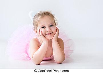 cor-de-rosa, bailarina, pequeno, tutu