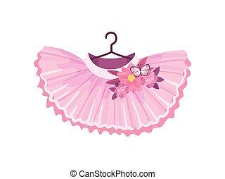cor-de-rosa, balé, skirt., ilustração, experiência., vetorial, branca
