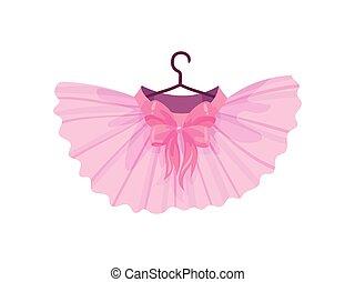 cor-de-rosa, balé, tutu., ilustração, experiência., vetorial, branca