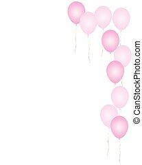 cor-de-rosa, balões, borda