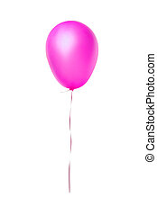 cor-de-rosa, balloon, voando, isolado, branca