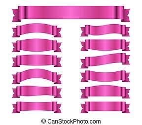 cor-de-rosa, bandeiras, jogo, fitas