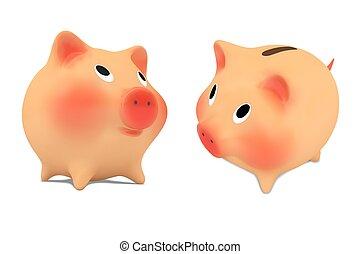 cor-de-rosa, bank.vector, jogo, piggy, ilustração
