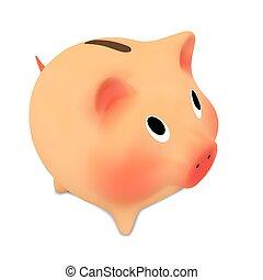 cor-de-rosa, bank.vector, piggy, ilustração