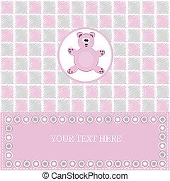 cor-de-rosa, bebê, cartão, saudação, urso