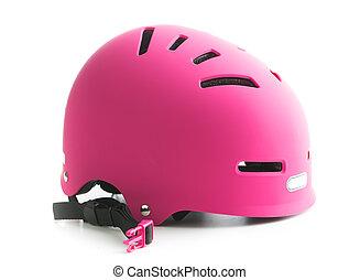 cor-de-rosa, bicicleta, helmet.
