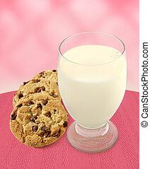 cor-de-rosa, biscoitos, -, leite, fundo