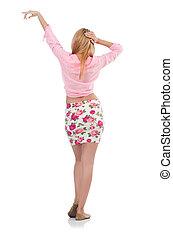 cor-de-rosa, blusa, branca, mulher, isolado