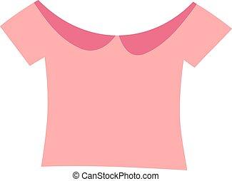 cor-de-rosa, blusa, moda, illustration., meninas, vetorial
