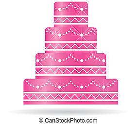 cor-de-rosa, bolo casamento, para, convites, ou, card.