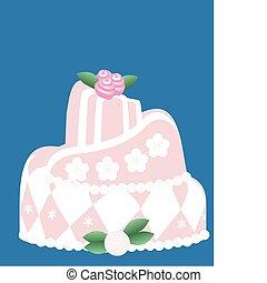 cor-de-rosa, bolo, tudo, ocasiões