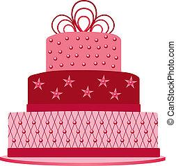 cor-de-rosa, bolo