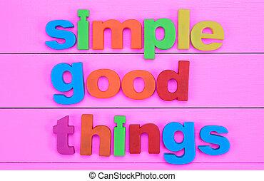 cor-de-rosa, bom, simples, coisas, palavras, tabela