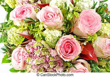 cor-de-rosa, bonito, flores, roses., buquet
