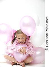 cor-de-rosa, bonito, sentando, jovem, loura, entre, menina, balões, branca