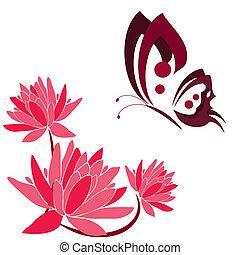 cor-de-rosa, borboletas, flores