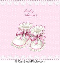 cor-de-rosa, botins bebê, cartão, chuveiro