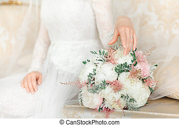 cor-de-rosa, bouquet., manhã, noiva, branca, nupcial