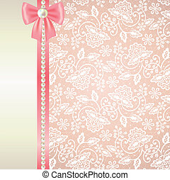 cor-de-rosa, branca, cartão, renda, fundo
