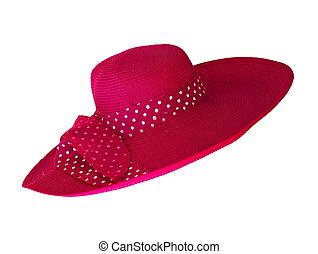 cor-de-rosa, branca, moda, chapéu, isolado