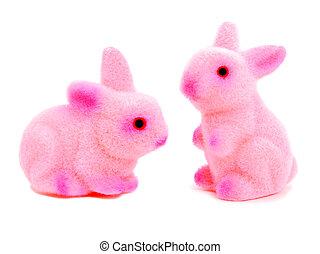 cor-de-rosa, brinquedo, páscoa, dois, coelhinhos