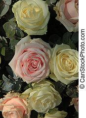 cor-de-rosa, buquet, branca, nupcial