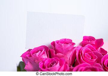 cor-de-rosa, buquet, em branco, cartão, rosas