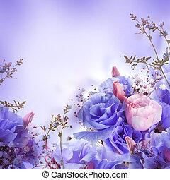 cor-de-rosa, buquet, floral, fundo, rosas