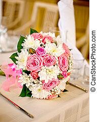cor-de-rosa, buquet, luz, fundo, nupcial, flores, branca