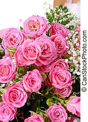 cor-de-rosa, buquet, nupcial