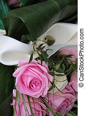 cor-de-rosa, buquet, nupcial, branca