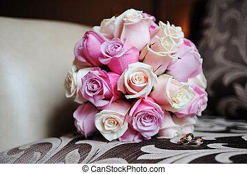 cor-de-rosa, buquet, nupcial, branca, rosas