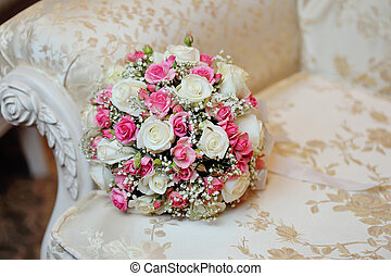 cor-de-rosa, buquet, sofá, luxo, casório, nupcial