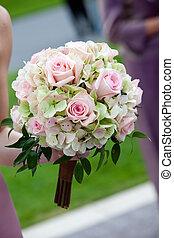 cor-de-rosa, buquet, verde, casório