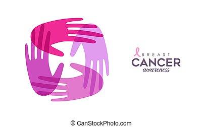 cor-de-rosa, câncer, apoio, mãos, cartão, cuidado