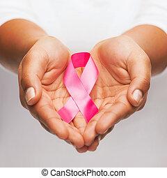 cor-de-rosa, câncer, consciência, peito, segurar passa, fita