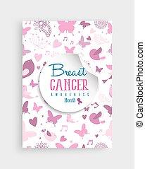 cor-de-rosa, câncer, natureza, cartaz, consciência peito, ícone