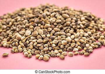 cor-de-rosa, cânhamo, semente, pilha, fundo