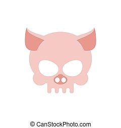 cor-de-rosa, cabeça, esqueleto, cranio, isolated., porca,...