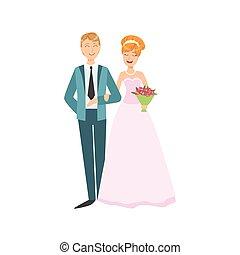 cor-de-rosa, cabeça, foto, par, noivo, tradicional, noiva,...