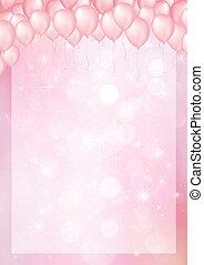 cor-de-rosa, cabeçalho, balloon, borda, fundo