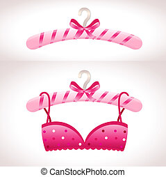 cor-de-rosa, cabide, soutien, hanger.