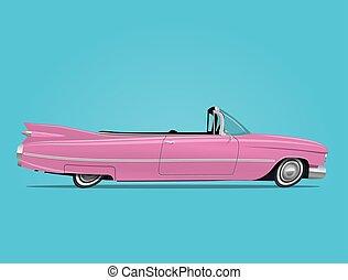 cor-de-rosa, cabriolé, car, ilustração, vetorial, retro, denominado, caricatura