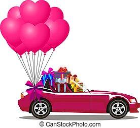 cor-de-rosa, cabriolé, car, presentes, balões, caricatura, grupo
