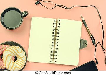 cor-de-rosa, café, ao redor, headphones., experiência., descansos, donuts, lá, photo., telefone, tingido, caderno, molas, páginas brancas