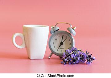 cor-de-rosa, café, bom, alarme, clock., manhã, fundo, concept.