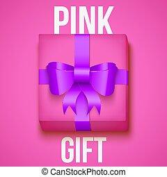 cor-de-rosa, caixa, fundo, amarela, presente