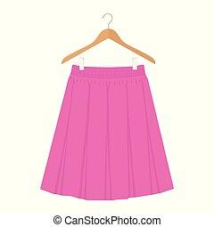 cor-de-rosa, caixa, mulher, illustration., plissado, vetorial, desenho moda, modelo, saia, cabide, mulheres