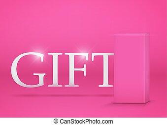 cor-de-rosa, caixa, presente, fundo