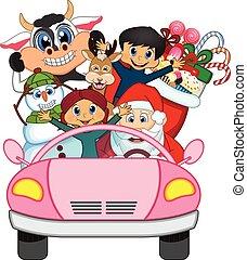 cor-de-rosa, car, claus, santa, dirigindo